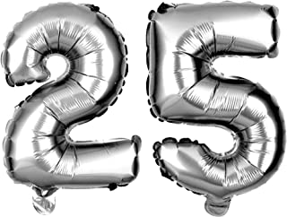 Ella Celebration Non-Floating 25 Number Balloons 25th Birthday Party Supplies Silver Decorations Small 13 inch (Silver)
