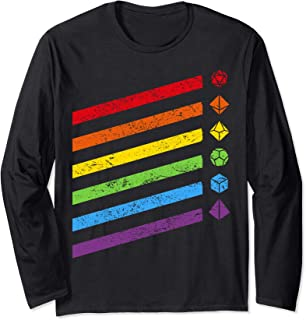 Dungeon Polyhedral Dice Set Collector Rainbow Long Sleeve T-Shirt