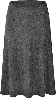 EIMIN Women's Solid Flared Lightweight Elastic Waist Classic Midi Skirt (S-3XL)