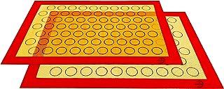 XingJie Lot de 2 tapis de cuisson en silicone sans BPA (29,5 x 42 cm) Macarons antiadhésif Tapis de cuisson durable réutil...