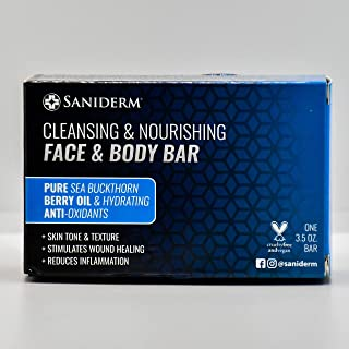 Saniderm Face and Body Bar Soap with infused Sea Buckthorn Berry Oil and Omega-7   3.5 oz Bar (99 g)