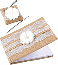 Wedding Guest Book, 40 Pages Guest Book with Pen and Holder, Jute Lace Rustic Hardcover, 9.8 x 6.5 x 1 Inches