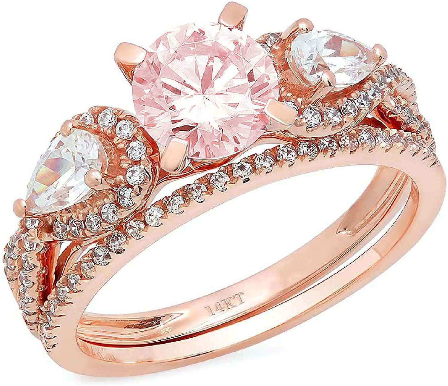 1.94ct Round Pear Cut Solitaire 3 stone With Accent VVS1 Ideal Pink Simulated Diamond CZ Engagement Promise Designer Anniversary Wedding Bridal ring band set 14k Rose Gold