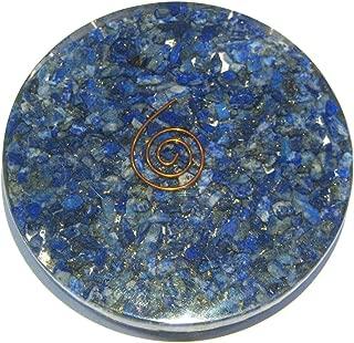 CRYSTALMIRACLE Lapis Lazuli 156 Grams ORGONITE Round Coaster Crystal Healing Reiki FENG Shui Gift Energy Wellness Metaphysical Gemstone Health Wealth Throat Chakra Meditation Spiritual Wisdom