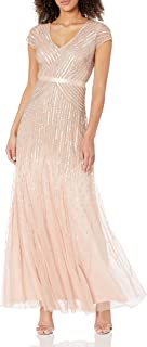 Women's Long Beaded V-Neck Dress With Cap Sleeves and Waistband