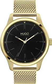 Hugo Boss Men'S Black Dial Ionic Thin Gold Plated 1 Steel Watch - 1530138