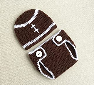 Newborn Crochet Outfits Boy Football Costume For Baby Photo Props Brown Infant Hat And Diaper Cover