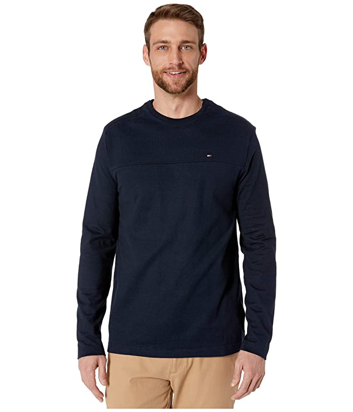 Tommy Hilfiger Adaptive  Solid Long Sleeve T Shirt with Magnetic Buttons at Shoulders (Sky Captain) Mens Clothing