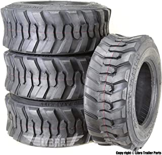 Set 4 New Super Guider Heavy Duty 10-16.5/10PR SKS1 Skid Steer Tire for Bobcat w/Rim Guard