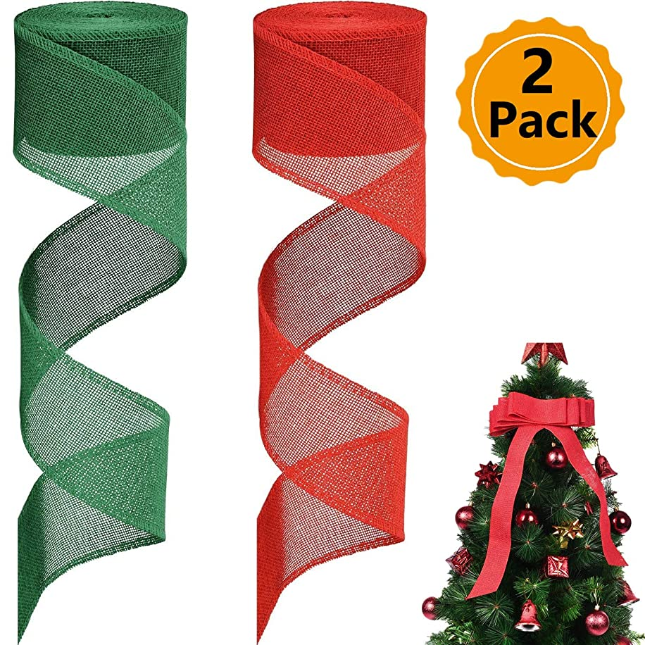 Christmas Wire Ribbon,2 Rolls Burlap Ribbon Christmas Burlap Ribbon Rolls for DIY Craft Decoration Gift Wrap Deco (Red and Green, 394 by 2.4 inch)