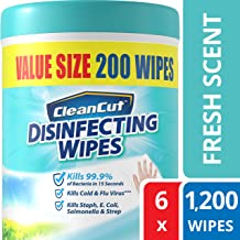 Disinfecting Wipes By Clean Cut, Fresh Scent, Value Size 200 Wet Wipes (Pack Of 6, 1, 200 total wipes) antibacterial - Sanitizing - Cleaning