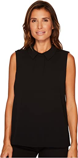 Sleeveless Textured Pleat Front Collared Blouse