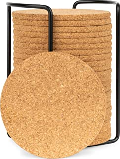 Olivia & Aiden Cork Coasters Set   24 Piece Set   Round Thick, Super Absorbent   Fits Cups, Mugs, Wine Glasses   Heat-Resistant Counter and Table Protection   Includes Metal Coaster Holder