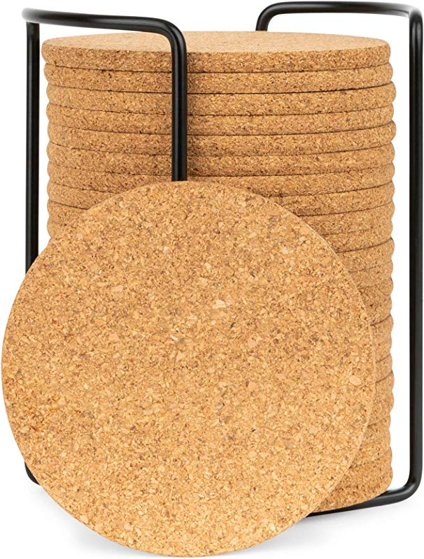 Olivia Aiden Cork Coasters Set 24 Piece Set Round Thick Super Absorbent Fits Cups Mugs Wine Glasses Heat Resistant Counter And Table Protection Includes Metal Coaster Holder