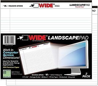 """مفارش عرضية عريضة من منتجات Roaring Spring Paper Products ، 40 ورقة ، 11 × 9-1/2 بوصة ، أبيض (ROA74500) 11"""" x 9.5"""" 40 Sheets"""