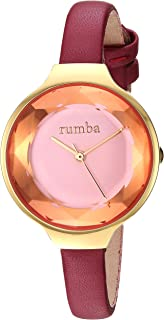 RumbaTime Women's 'Orchard Gem Leather' Quartz Stainless Steel Casual Watch, Color:red (Model: 27570)