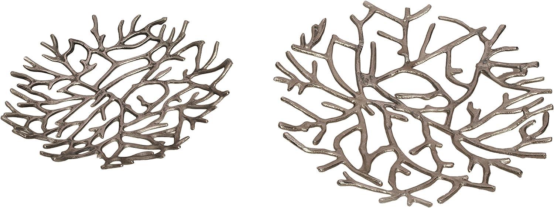World Modern Design MK-1003-30 Twig Platter, Set of 2, Silver