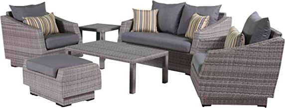 RST Brands Cannes 6-Piece Loveseat Deep Seating Set with Cushions, Charcoal Grey