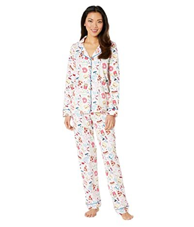 BedHead Pajamas Long Sleeve Classic Notch Collar Pajama Set (Junk Food) Women