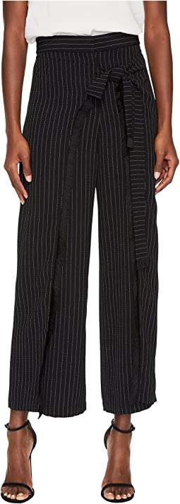 Wide Leg Wrap Pants with Fringe Details