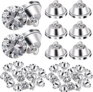 Crystal Upholstery Buttons 20 mm Clear Crystal Buttons Imitate Diamond Buttons with Metal Loop for DIY Sewing Sofa Bed Headboard DIY Crafts Decorations (50 Pieces)