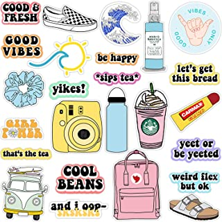 VSCO Vinyl Stickers Aesthetic,Trendy - VSCO Girl Essential Stuff for Water Bottles Stickers Suitable for Photo Sharing, Swimming,Outdoor (Multi Colorful)