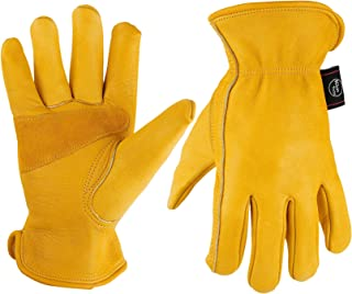 KIM YUAN Leather Work Gloves for Gardening,Yard Work, Farm, Construction, Warehouse, Motorcycle, Men & Women, Elastic Wrist with Palm, Large