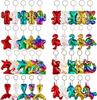 Trounistro 40 Pieces Sequin Keychain Hanging Key Chain with Mermaid Tail Unicorn Pony Cat Star Flamingo Cub Cactus Shape keychains for Kids Girls Party favor - 8 Styles