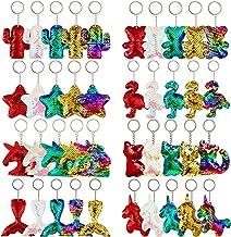 Trounistro 40 Pieces Sequin Keychain Hanging Key Chain with Mermaid Tail Unicorn Pony Cat Star Flamingo Cub Cactus Shape k...