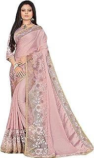 Indian Designer Heavy Ribbon & Golden Sequin Border Party Silk Sari Eid Muslim Saree Blouse 6421