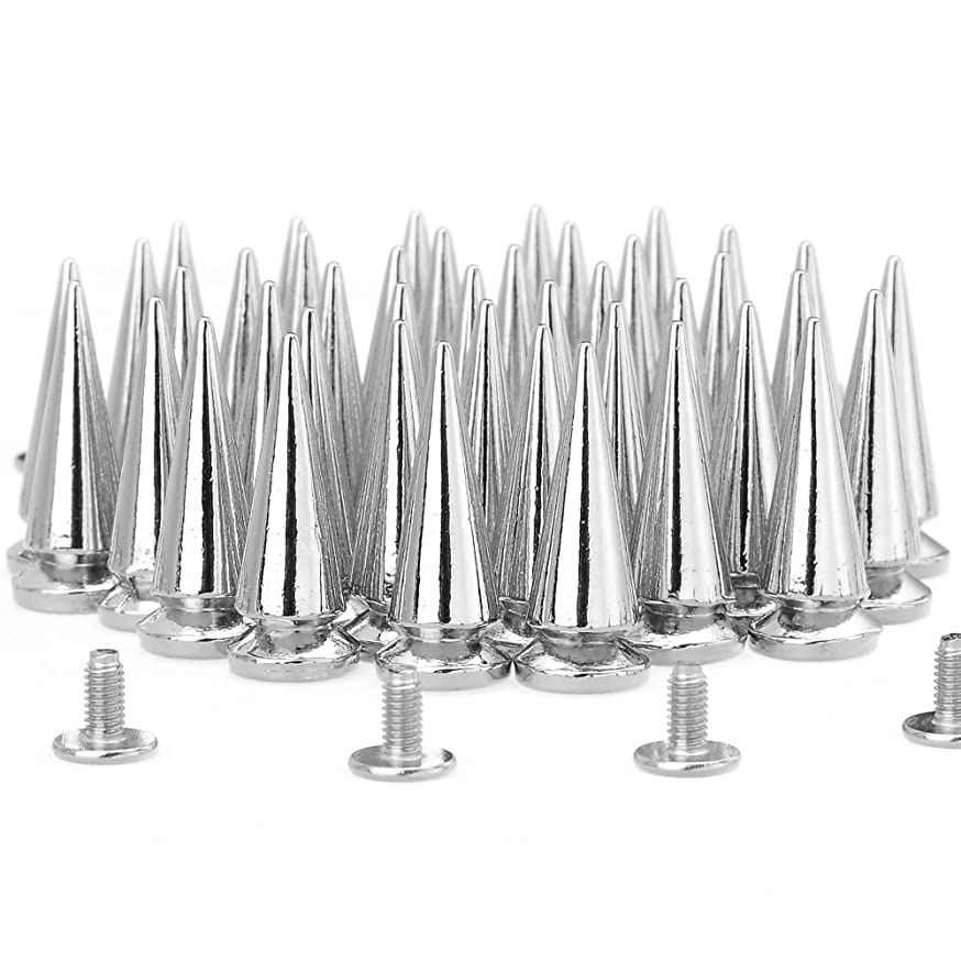 RUBYCA 25MM 100 Sets Large Metal Big Tree Spikes and Studs Metallic Screw-Back for DIY Leather-craft Silver Color