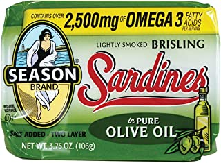 Season Brisling Sardines in Pure Olive Oil, 3.75 Ounce (Pack of 12)