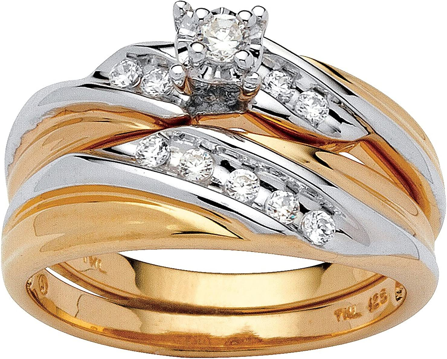 Yellow Gold-Plated Max 48% OFF Cheap mail order shopping Sterling Silver Round Zirconia Tone Cubic Two