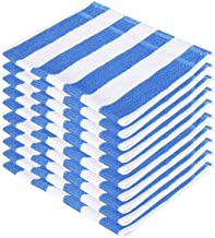 SHAMBHAVI 300 GSM Cotton Hand Towel Set (Blue and White) - 10 Piece