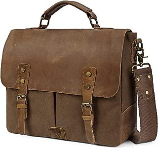 BRINCH Stylish 15.6 Inch Laptop Bag Genuine Leather Canvas Briefcase for Men Antique Satchel Business Messenger Case Durable Flip Cover Handbag Notebook Computer Bag w/Shoulder Strap,Brown