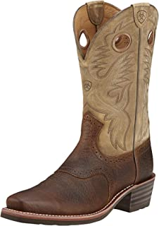حذاء برقبة غربي من Ariat Heritage Roughstock - حذاء عمل جلد بمقدمة مربعة للرجال