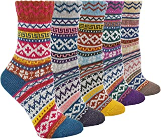 5 Pack Womens Wool Socks Cozy Thick Knit Winter Vintage Crew Socks Warm Gift