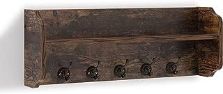 Danya B. XF161206PI - Rustic Floating Wall Shelf with Hooks & Aged Wood Finish – Wall Mount - Brown