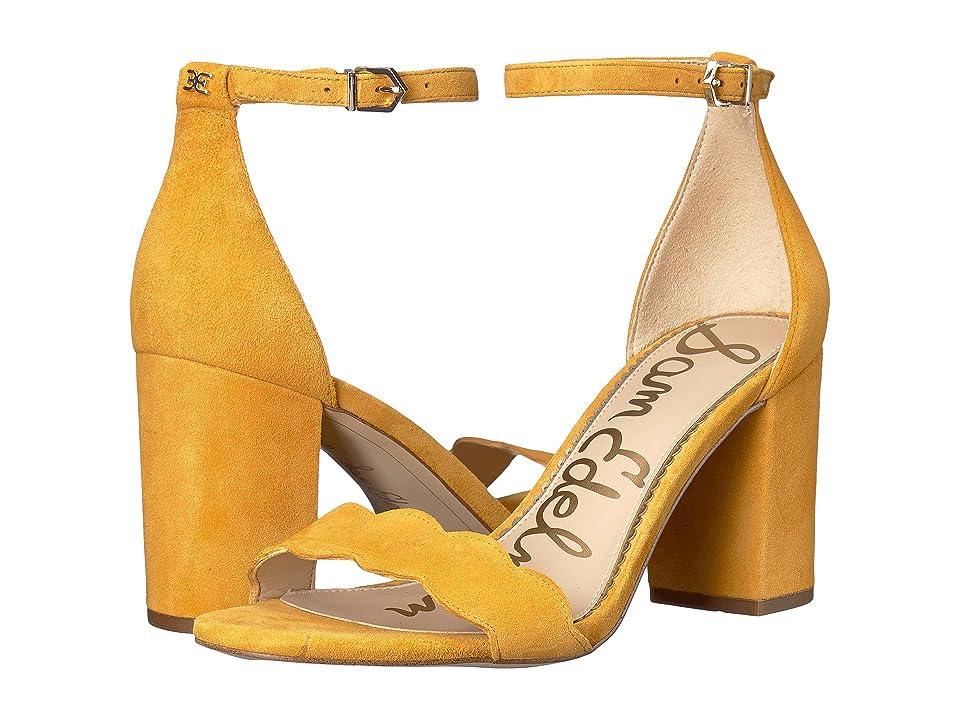 Sam Edelman Odila Ankle Strap Sandal Heel (Sunglow Yellow Kid Suede Leather) Women