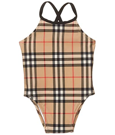 Burberry Kids Crina Check Swimsuit (Infant/Toddler) (Archive Beige IP Check) Girl