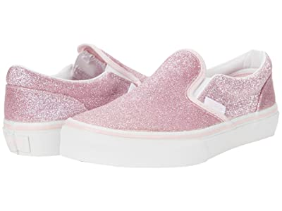 Vans Kids Classic Slip-On (Little Kid) ((Glitter) Blushing Bride/True White) Girls Shoes