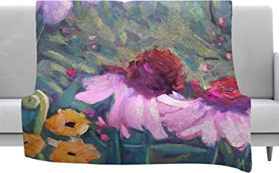 80 by 60 Kess InHouse Sylvia Cook Hibiscus Green Pink Fleece Throw Blanket