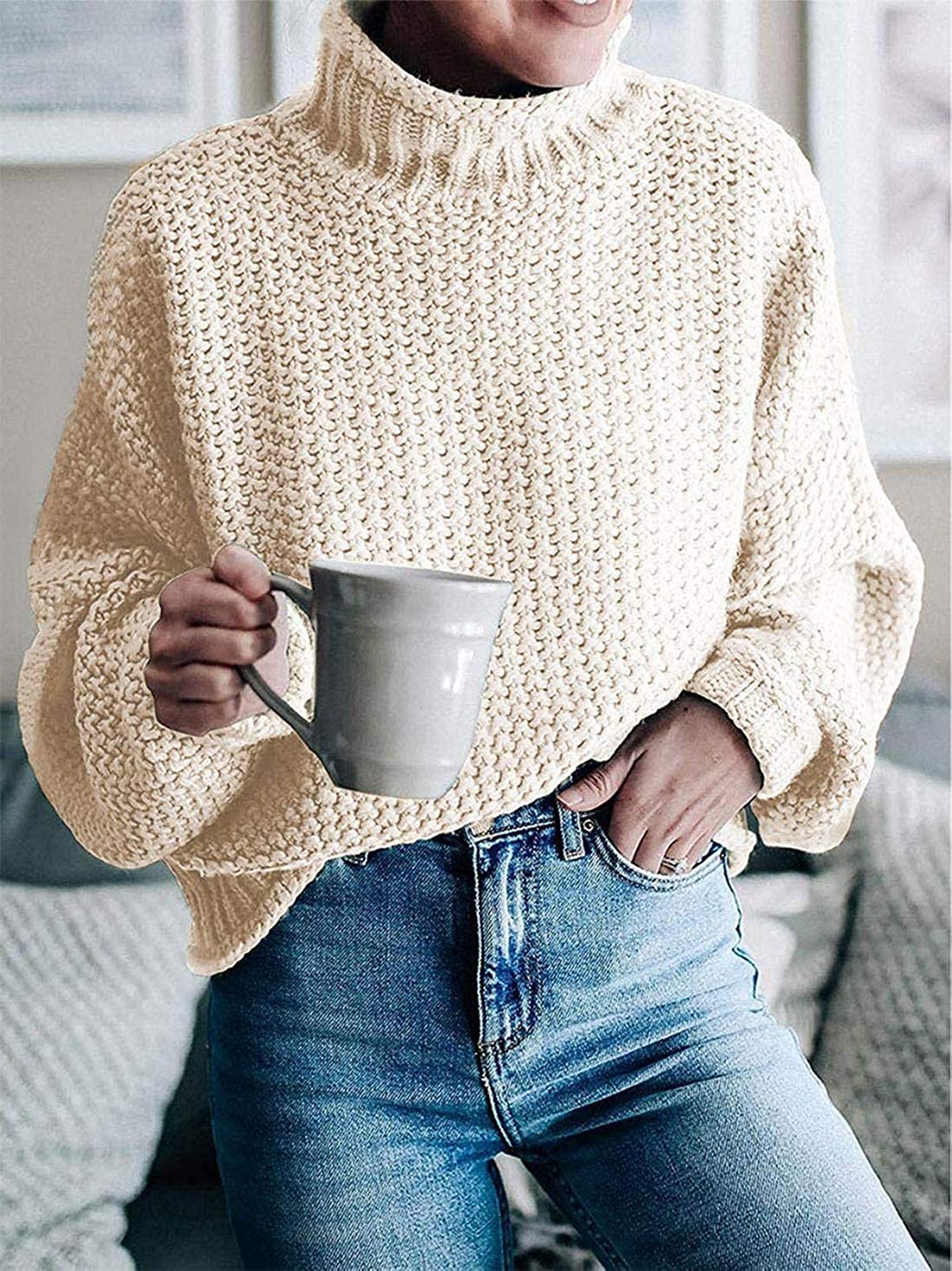 Womens Turtleneck Knit Sweaters Casual Chunky Pullover Long Sleeve Loose Jumper Tops