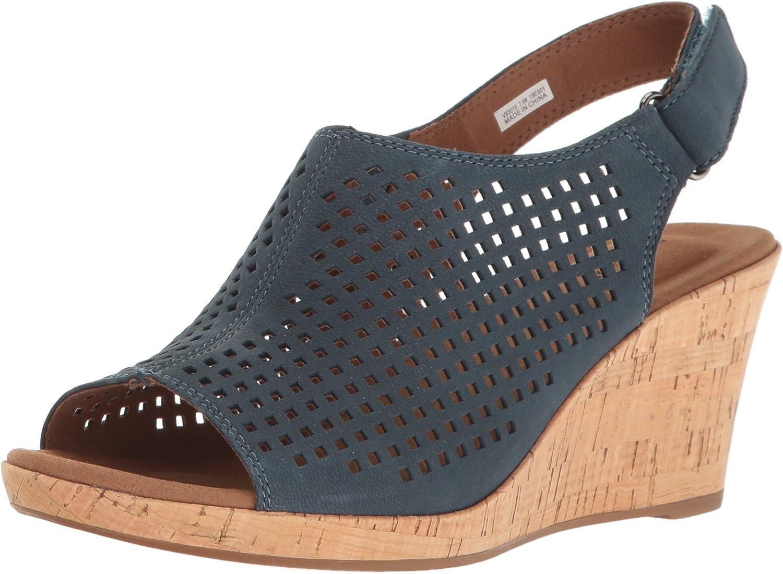 Rockport Womens Briah PERF Sling Wedge Sandal