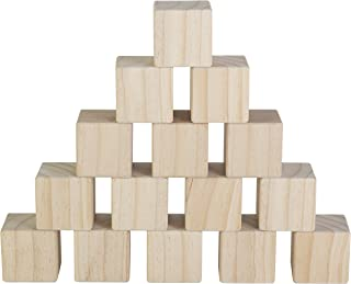 Set of 15 Large Wooden Blocks - 2 Inch Natural Wood Square Cubes - with Sanded Smooth Surface for Photo Blocks, Crafts, Art Supplies, Puzzle Projects and More - Great Toys for Kids & Child