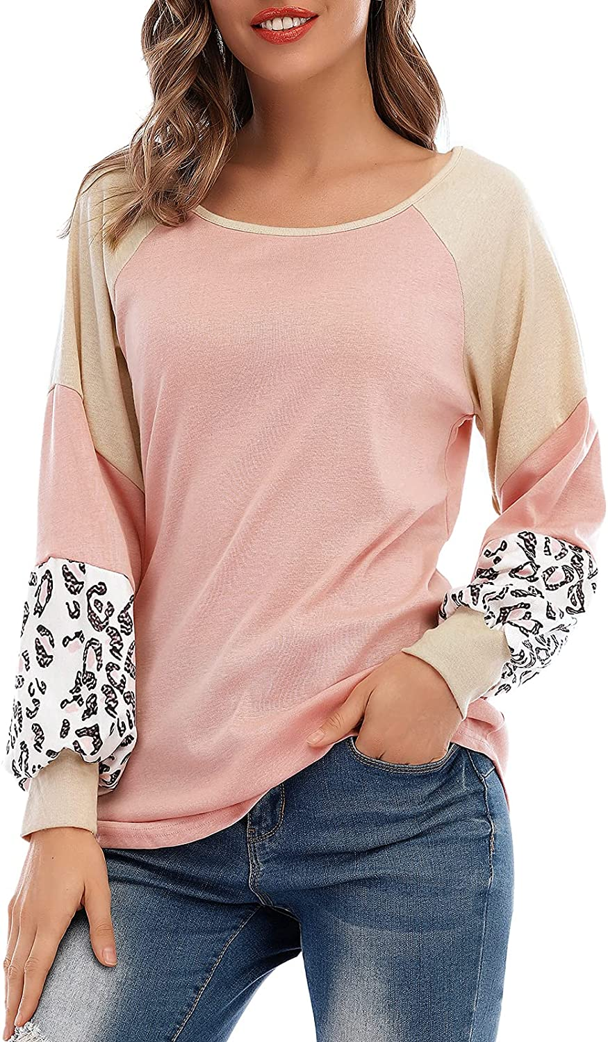 Century Star Long Sleeve Shirts for Women Casual Tunics Loose Fit Pullover Round Neck Sweatshirt Color Block Tops