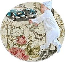 Eiffeltornet och blommor, rund matta för barn polyester överkast matta mjuk pedagogisk tvättbar matta barnkammare tipi-täl...