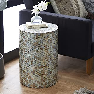 """Deco 79 48985 Small Round End Table with Freshwater Pearl Mussel Shell Inlay, 14"""" x 20"""""""
