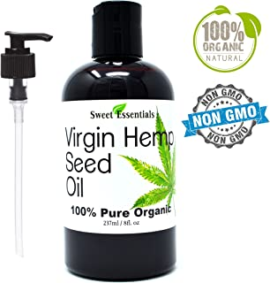 Organic Extra Unrefined Hemp Seed Oil (Food Grade) 8oz | Cannabis Sativa | Imported From Canada | 100% Pure Cold Pressed | Offers Relief From Dry & Cracked Skin, Eczema, Psoriasis, Dermatitis, Rosacea