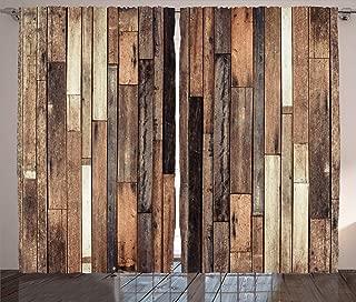 Ambesonne Wooden Curtains, Brown Old Hardwood Floor Plank Grunge Lodge Garage Loft Natural Rural Graphic Print, Living Room Bedroom Window Drapes 2 Panel Set, 108